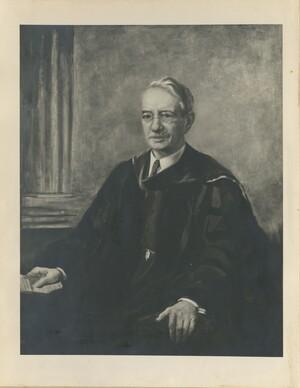 Portrait of Edwin Grant Conklin seated, wearing Princeton regalia