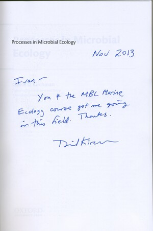 """Title page of the book """"Processes in Microbal Ecology"""". The author, David L. Kirchman, has written a note to Ecosystems Center scientist Ivan Valiela"""