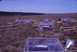 Walt Oechel's early system for controlling CO2/temperature/water/light in field cuvettes, on the hillside below our fertilizer plots