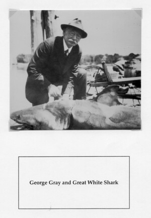 George Gray with shark MBL dock c1921