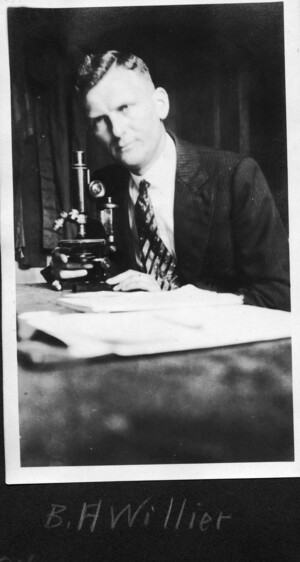 Willier sitting at a lab bench with a microscope