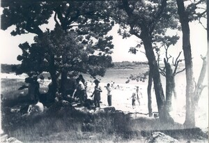 Black and white photo of people resting in the shade and on the beach in Tarpaulin Cove, on Naushon Island